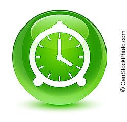 Alarm clock icon glassy green round button