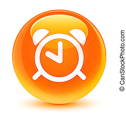 Alarm clock icon glassy orange round button