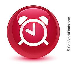 Alarm clock icon glassy pink round button