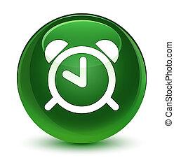 Alarm clock icon glassy soft green round button