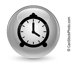 Alarm clock icon glassy white round button