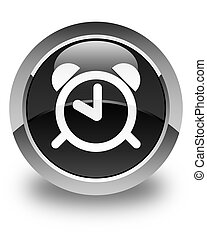 Alarm clock icon glossy black round button