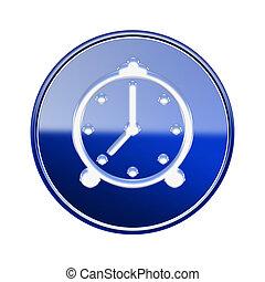 alarm clock icon glossy blue, isolated on white background