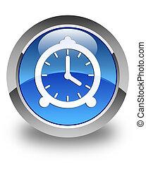 Alarm clock icon glossy blue round button