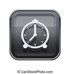 alarm clock icon glossy grey, isolated on white background