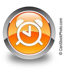 Alarm clock icon glossy orange round button 2