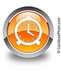 Alarm clock icon glossy orange round button