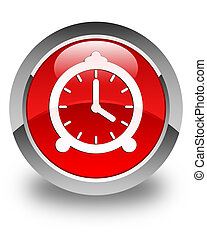 Alarm clock icon glossy red round button