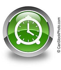 Alarm clock icon glossy soft green round button