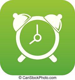 Alarm clock icon green vector