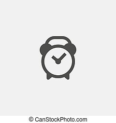 alarm clock icon in a flat design in black color. Vector illustration eps10