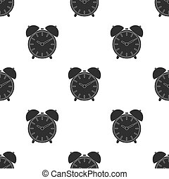 Alarm clock icon in black style isolated on white background. Hotel pattern stock vector illustration.