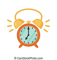 Alarm clock icon in flat style.