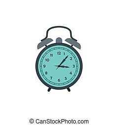 Alarm clock icon in flat style