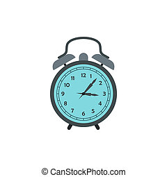 Alarm clock icon in flat style