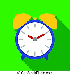 Alarm clock icon in flat style isolated on white background. Hotel symbol stock vector illustration.