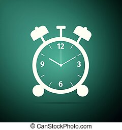 Alarm clock icon isolated on green background. Wake up, get up concept. Time sign. Flat design. Vector Illustration