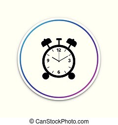 Alarm clock icon isolated on white background. Wake up, get up concept. Time sign. Circle white button. Vector Illustration