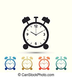 Alarm clock icon isolated on white background. Wake up, get up concept. Time sign. Set elements in colored icons. Flat design. Vector Illustration