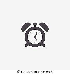 alarm clock icon, isolated, white background