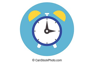 Alarm clock icon lat design style. Clock silhouette. Simple icon. Modern flat icon in stylish colors. Web site page and mobile app design element.