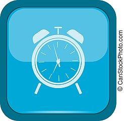 Alarm clock icon on a blue button