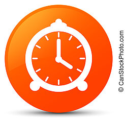 Alarm clock icon orange round button
