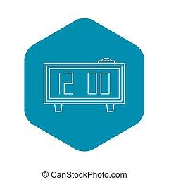 Alarm clock icon, outline style