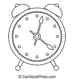 Alarm clock icon, outline style.