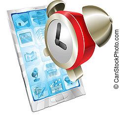 Alarm clock icon phone concept - Alarm clock icon coming out...