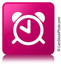 Alarm clock icon pink square button