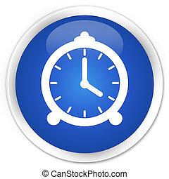Alarm clock icon premium blue round button