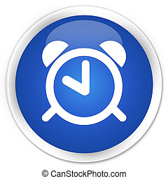 Alarm clock icon premium blue round button