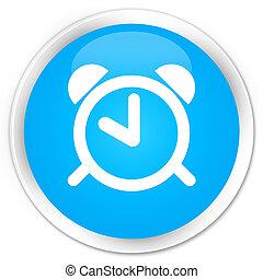 Alarm clock icon premium cyan blue round button