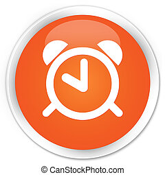 Alarm clock icon premium orange round button