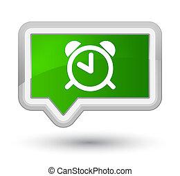 Alarm clock icon prime green banner button