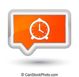Alarm clock icon prime orange banner button