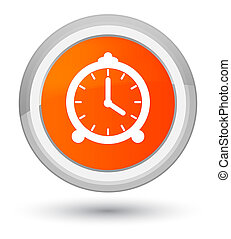 Alarm clock icon prime orange round button