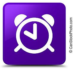 Alarm clock icon purple square button