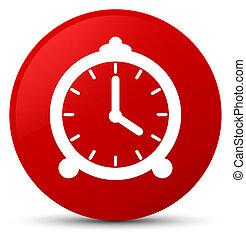 Alarm clock icon red round button