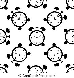 Alarm clock icon seamless pattern on white background. Vector Illustration