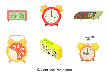 Alarm clock icon set, cartoon style