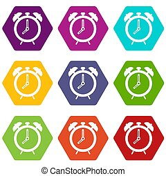 Alarm clock icon set color hexahedron
