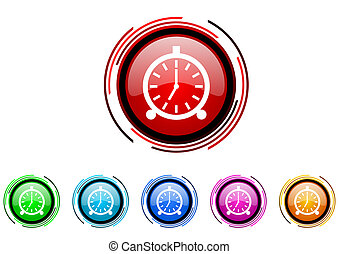 alarm clock icon set