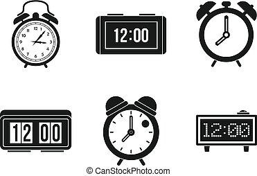 Alarm clock icon set, simple style