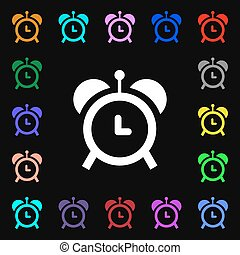 alarm clock icon sign. Lots of colorful symbols for your design. Vector