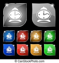alarm clock icon sign. Set of ten colorful buttons with glare. Vector