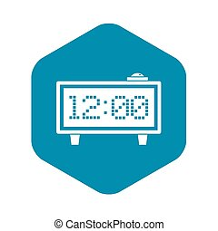 Alarm clock icon, simple style
