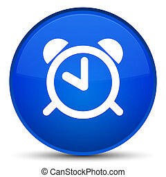 Alarm clock icon special blue round button