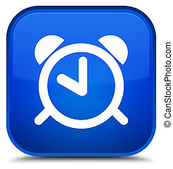Alarm clock icon special blue square button